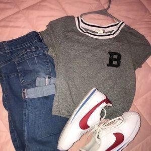 Grey Short Sleeve Crop Top